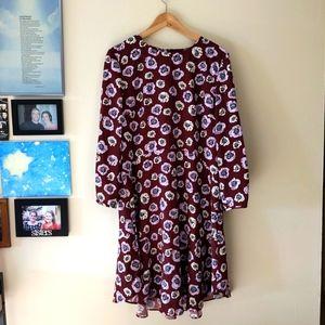 Loft floral print long sleeve dress maroon  12
